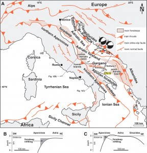 Tectonic map of Italy, showing active faults and volcanic centers. Billi et al., 2007, Geosphere, doi: 10.1130/GES00057.1.