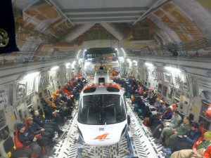 The inside of the C-17 from the deck.