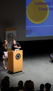 Meredith Bird '15, left, watches as Shane Lory '16 presents their pitch for funding the Colorado Springs Food Rescue as part of 2014 The Big Idea competition at the Cornerstone Arts Center's Celeste Theatre.