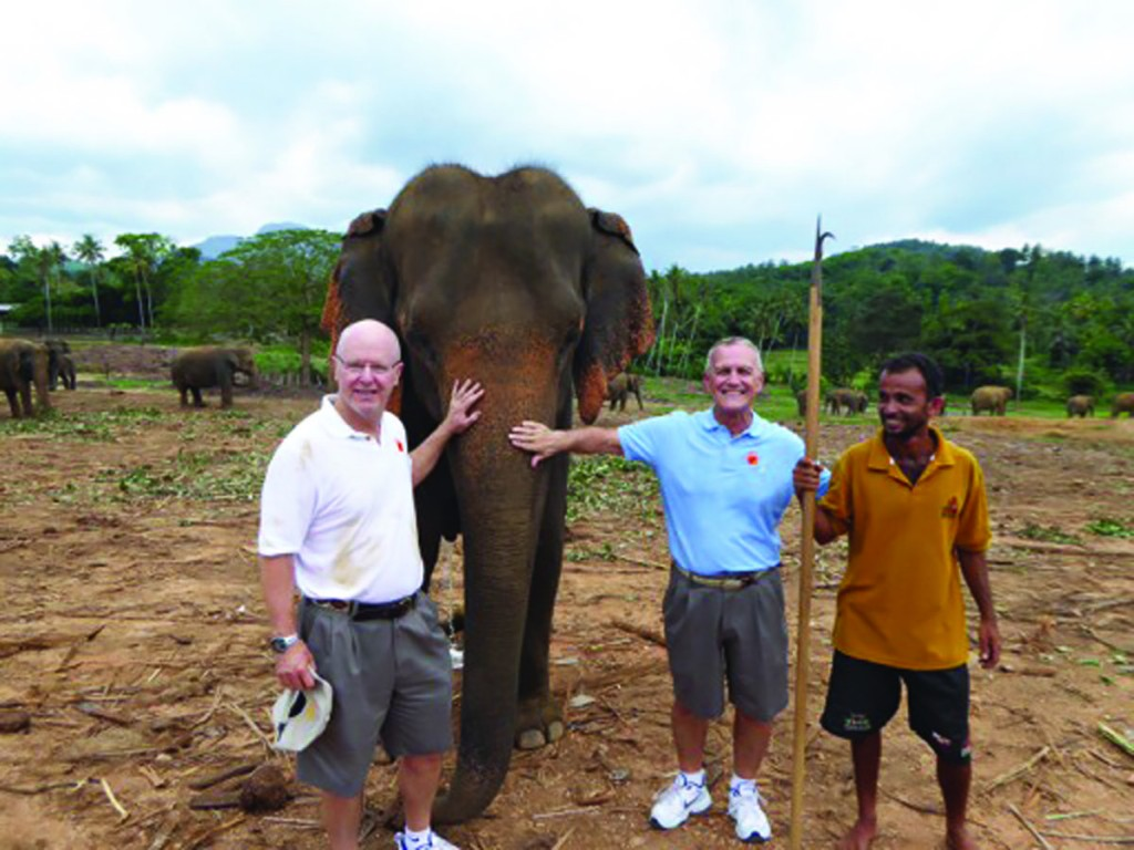 Earlier this year, Bill Oman, left, and his husband Larry Crummer, center, completed a four-month cruise around the world. Among the highlights were visits to 26 countries, seeing the Taj Mahal at both sunset and sunrise, and taking a six-day side trip to Myanmar's pagan and Shwedagon temples.