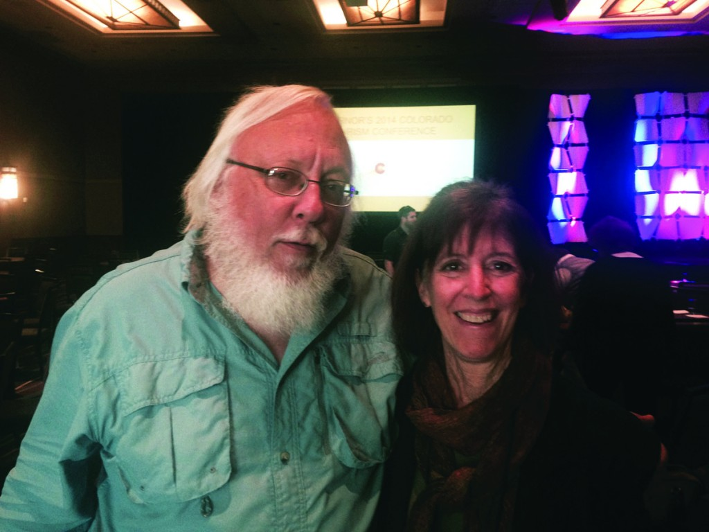 (L to R) Classmates John Koshak and Scottie Jones met up at the Colorado Governor's Tourism Conference last year in Westminster, Colorado. Koshak owns See More Birds Nature Tours in Hillside, Colorado; Jones owns Leaping Lamb Farm in Alsea, Oregon, and presented at the conference on her experiences operating a farm stay.
