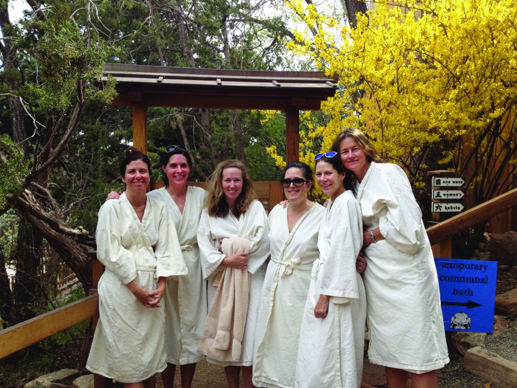 In April, friends from the Classes of 1990 and 1991 gathered at Ten Thousand Waves resort in Santa Fe, New Mexico. Pictured left to right: Cristina Bordes '91, Molly Mayo '90, Meredith Hunt '90, Stephanie Michas '91, Lisa Pike Sheehy '91, and Marina Lindsey '91.