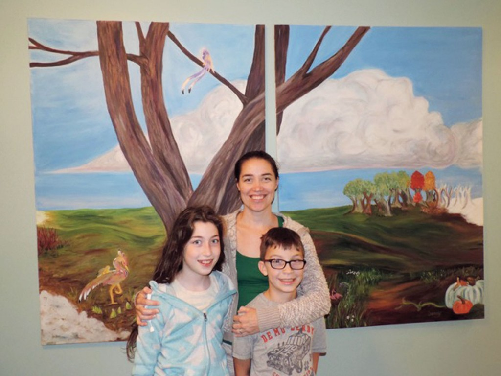 """Working with her daughter Miriam and son Jacob, Jenny Shamess created a painting titled """"Nature Nurture"""" that earlier this fall was accepted into ArtPrize, an art show in Grand Rapids, Michigan."""