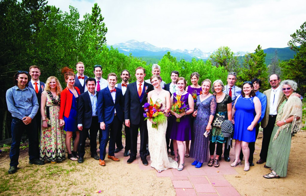 Emily Zinn and Devin Jamroz were married on July 11 in Allenspark, Colorado. Emily's dress was designed and made by her sister, Sarah Zinn '12, who is studying for an MFA in theatrical costume design at Rutgers University. CC alums in attendance were (pictured left to right): Sam Smith '08, Wiley Skewes '08, Meg Murrah '10, Emily Waldeck '05, Ross Palmer '08, Chris Franz '08, Eric Nomura '08, Ben Warshauer '08, Robbie Waldeck '08, Devin Jamroz, Lennard Zinn '80, Emily Zinn, Drew Bowen '10, Sarah Zinn, Marielle Cowdin '08, Sonny Zinn '80, Kate Inskeep, Derek Davis '76, Ashley Mendez-Kestler '08, Guillermo Mendez-Kestler '08, Matthew Hecht '85, and Mary Olson '82.