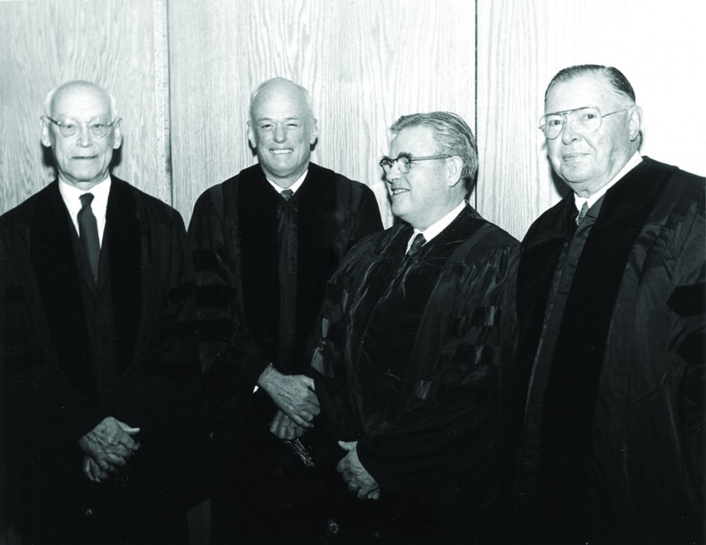 """""""During my life I have thought of various things that I would like to have happen to me but receiving a doctor's degree from a college was a great surprise and pleasure, especially from Colorado College.""""    —  Arthur E. Johnson, pictured above at far right, during Colorado College's 1968 Commencement Ceremony."""