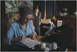 Jan Rosé '80 is surrounded by natural wool, silk, linen, merino, cashmere, and cotton in her home studio.