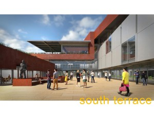 Rendering of Tutt Library courtyard