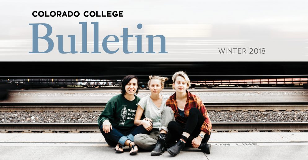 Three alumnae embark on the Rail Tale Train Tour; they rode the rails from Portland, Maine, to Portland, Oregon. From left, Amanda Flores '13, Siri Undlin '13, and Kendall Rock '15. Winter 2018 cover