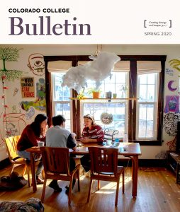 Colorado College Bulletin masthead showing students in Synergy House, a living community for students who want to work toward environmental sustainability