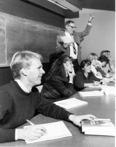 History Professor William R. Hochman displays his enthusiasm for a point made during class at Colorado College.