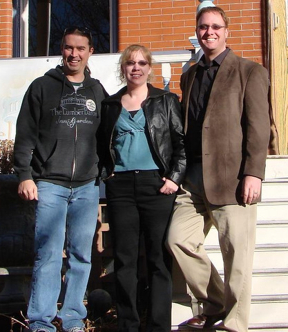 Walt Keller '90 (left) owns and operates the Lumber Baron Inn Bed and Breakfast in Denver with his wife, Julie. During a weekend in mid-January, Walt noticed one of his overnight guests had CC license plates on his car. Those guests were Randy and Melea Madsen Benzel '92 (center and right in photo).  Randy and Melea own Pure BI, Inc., an IT consulting firm.