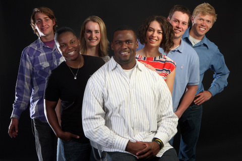 From left: Alex Weiss, Melanie Auguste, Kaeley Anderson, Blake Hammond, Anya Aylesworth, Chad Rau, and Mark E. Neuman-Lee