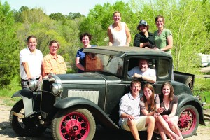 Colorado College alumni, parents, friends, and family celebrated the graduation of the next generation of CC alumni in May. Behind the Ford Model A, Scott Desmarais '86, Patrick O'Malley '94, Denni Ziskin Hughes '77, Gabi Prochaska '86, Alexei Desmarais '12, and Steffi Prochaska O'Malley '93. David Hughes '75, is behind the wheel, and in front are '09 graduates Toly Kazakin, Francesca Desmarais, and Lauren Hughes.