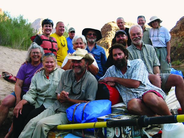 CC alumni, parents, faculty, and staff joined for a trip through the Grand Canyon on the Colorado River in June. CC Professor Mark Smith, an environmental economist, provided insight on Western water issues and rowed the baggage boat for the team. Rafters included, left to right: front row, Helen and Horst Richardson P'92, P'95; Matt Herrman; second row, Diane Brown Benninghoff '68, Ruthie Merrell '78, and Scott Mossman; third row, Heidi and Gerald Fox P'96 and Dave Stinson, and back row, Gary Oldeman, Paul Fiack, Mark Smith, and Professor Ron Capen and Kathy Brandt P'92.