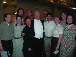 "The Opera Theatre of the Rockies presented the Broadway opera ""Street Scene"" by Kurt Weill at the Pikes Peak Center for the Performing Arts in Colorado Springs, Feb. 28 and March 1, 2009. The cast included CC graduates and students. Performers included, left to right: front row, Vinnie Gumlich '09, Cynthia Whitman '11, Linda Ellis Cummings '85, CC Lecturer in Music Dan Brink, and Adam Dickerson '13; back row, Rachael Meyers '10, Malcolm Ulbrick '03, Jeff Marshall, and Elan Jimenez '06."