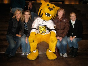 Friends from the Class of '89 gathered for a reunion in October 2009; from left, Kendra Egge Wilde, Dana Nogg Kiper, Prowler (a member of every class), Annie Tschida Longnecker, and Debbie Knowlton Hodge.
