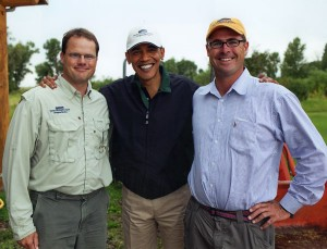 Pat Vermillion '94, left, and his brother Dan escorted President Barack Obama and staff members on a fly-fishing trip last summer in Montana. The Vermillion brothers own Sweetwater Travel, which runs fly-fishing operations around the world.