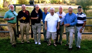 Members of Phi Delta Theta gathered in September 2009 at the home of Ray and Carol Babb in Camp Sherman, Ore. From left, Ray Sullivan '63, Chuck Allen '61, Bill Master '60, Pieter Myers '61, Ray Babb '62, Robin Poole '61, Bill Peterson '60, and Jack Heiberger '60. Wives present who were Colorado College graduates included Susan Moore Sullivan '65, Susan Davis Allen '66, and Judy Leutzinger Master '60.