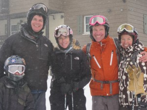 Brian Grossman '88, Carrie Scatterday Allan '89, Jamie Lummis '88, Kristen Dillon Lummis '88, and Carrie's son, Ryan, skied together at Alta, Utah, in December 2009.