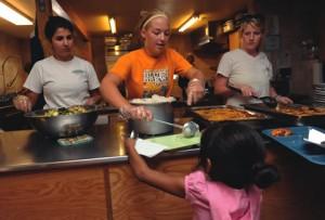 serving food