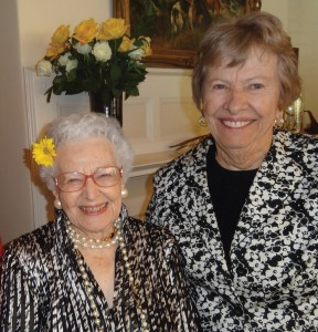 "Jule Hutchinson Haney '39 (pictured with Artie Toll Kensinger '53) celebrated her 95th birthday in January. More than 70 of her friends, including many fellow alumnae, joined in the party at Tutt Alumni House. Among the refreshments was the now-famous ""Jule Haney Punch."" Overheard at the party: ""I want to grow up to be just like Jule! — and can I get the recipe for this punch?"""