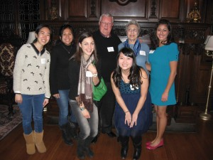 The 10th anniversary of the Tashjian/Crecelius Family Prize for Women in Science was cause for celebration. Dan '59 and Anahid Crecelius, the founders of this prize, were on campus on February 28 to meet some of the current and past recipients of their award. Sevan Suni '04, Tra Ho '08, Nguyen Nguyen '11, and Ashley Contreras '12, four of the past recipients, presented at an alumni panel, Women in Science, to talk about their chosen career paths and the impact of the Tashjian/ Crecelius award. The prize is awarded annually to a female student who is majoring in one of the natural sciences and who is an international or minority student. Pictured left to right: Jimin Kim '14, Linda Jimenez '14, Sevan Suni '04, Dan Crecelius '59, Anahid Crecelius, Tra Ho '08, and Ashley Contreras '12.