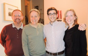 Four CC alumni from Columbia, Mo., got together to share CC stories; from left, Frank Bowman '76, John Howe '76, Alex Sable-Smith '08, and Kate Anderson '92. Joining them were parents and a prospective parent, Frank and Robin Bowman, Robb and Anne Jacobson, and Marcella Chavez.