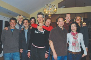 CC neighbors and friends gathered for a progressive dinner party in Boulder, Colo. From left, John Carron '89, Traci Telander '87, Bob Herz '86, Karen Herz, Lennard Zinn '80, Sonny West Zinn '80, Jeff Faunce '85, Steve Sundstrom '87, Amy McClellan '86, and Lauren Brown Sundstrom '86.