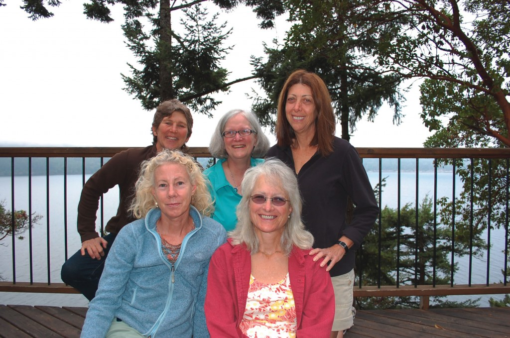 Friends  from the Class of '79 met for their 11th reunion on Orcas Island in the San  Juans.  Front row,  from left: Sue Sonnek Strater of Portland, Ore. and Debby  Parks Palmisano of Burton, Ohio. Back row, from left: Nancy  Levit of Dixon, N.M., Kathy Loeb of  Lexington, Ky., and Julie Edelstein-Best of South Padre Island, Texas.
