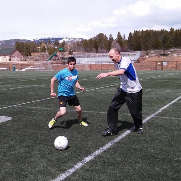 Peter Frykholm '92 playing soccer