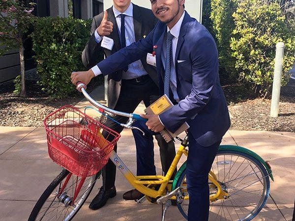 Oliver Jones '20 and Eyner Roman-Lopez '19 enjoy the amenities of Google's Mountain View, California campus.