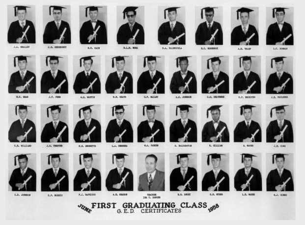 Courtesy of Denver Public Library - Western History Museum; 1st graduates of CSP GED program