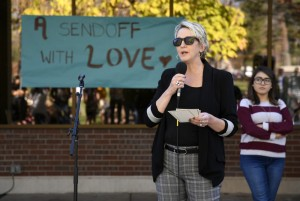 """CC students and faculty congregated at the Worner Quad for CCSGA's """"Loving Send-off: A Celebration of Identity and People at Colorado College"""" to discuss the community's inclusivity after this year's divisive election."""
